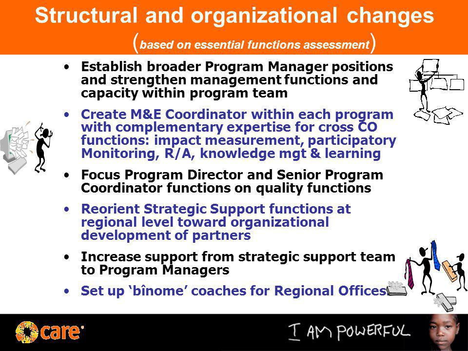 Structural and organizational changes ( based on essential functions assessment ) Establish broader Program Manager positions and strengthen managemen