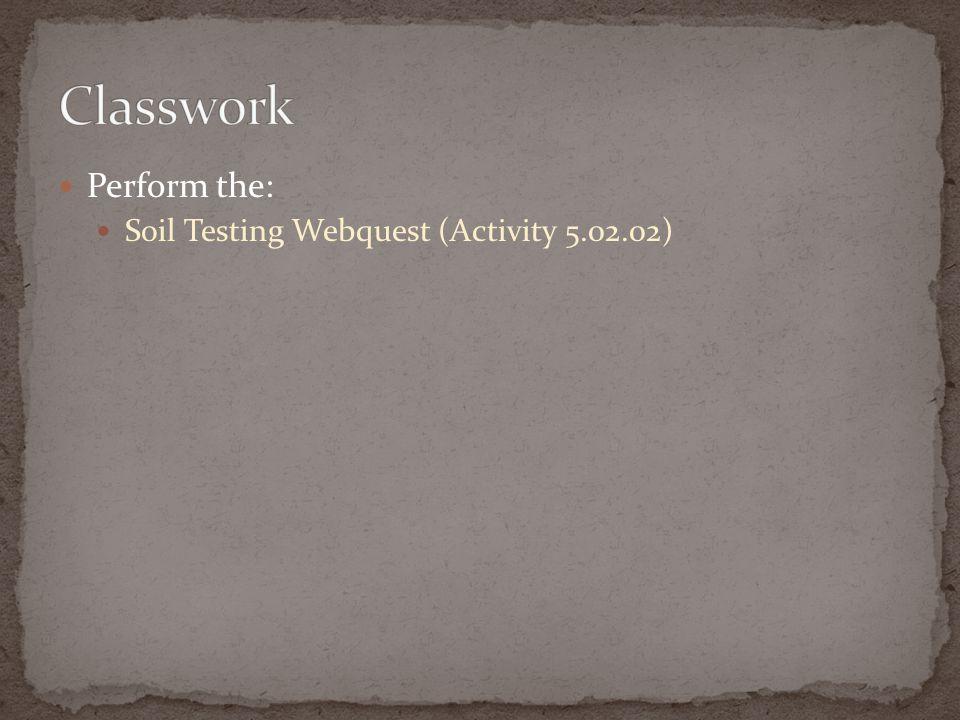 Perform the: Soil Testing Webquest (Activity 5.02.02)