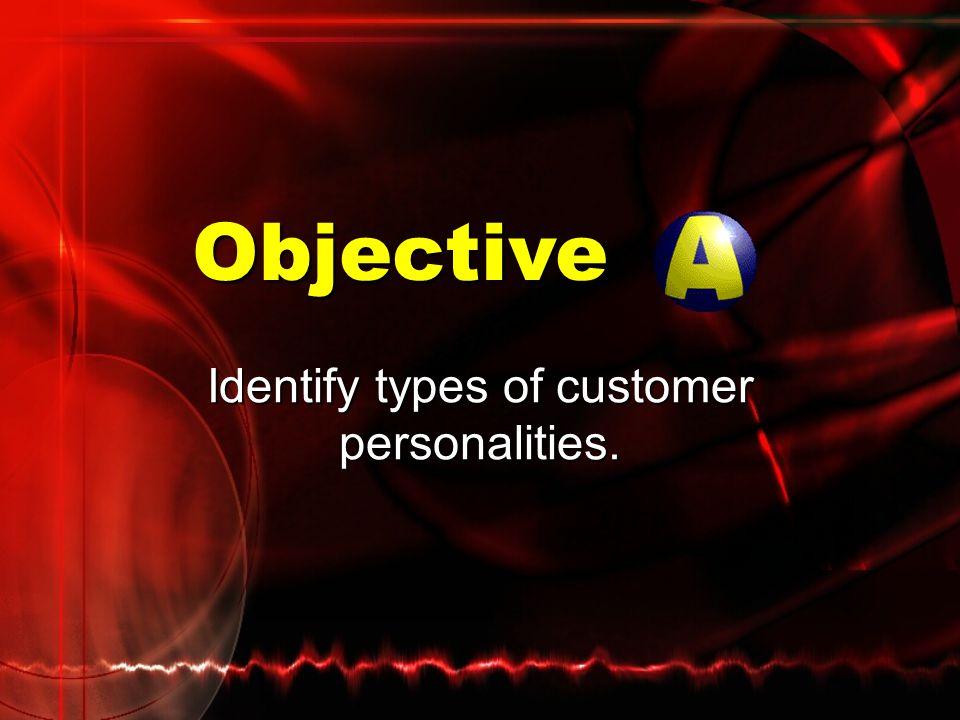 Objectives Identify types of customer personalities. Address different types of customer personalities.