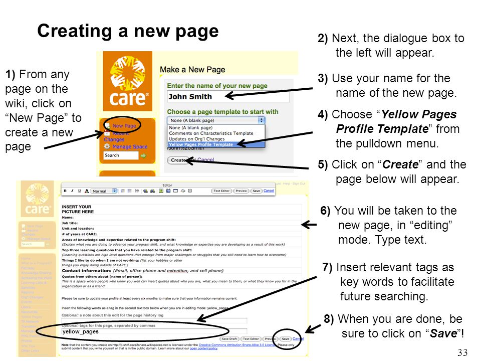 """33 Creating a new page 1) From any page on the wiki, click on """"New Page"""" to create a new page 2) Next, the dialogue box to the left will appear. 4) Ch"""