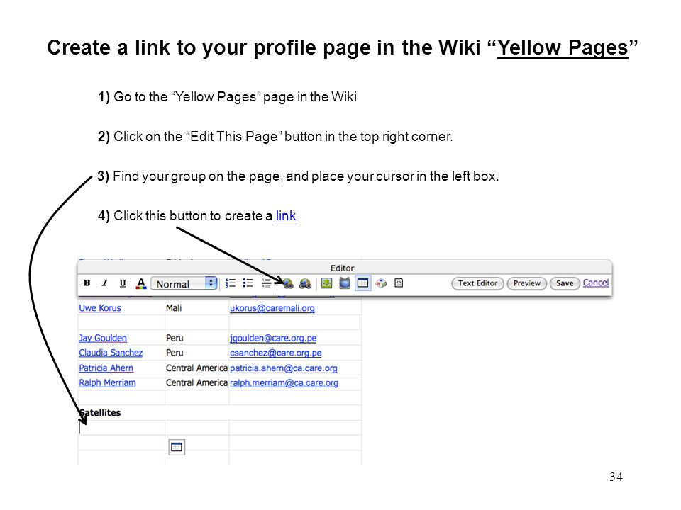 34 The Sandbox, Insert Link Create a link to your profile page in the Wiki Yellow Pages 3) Find your group on the page, and place your cursor in the left box.