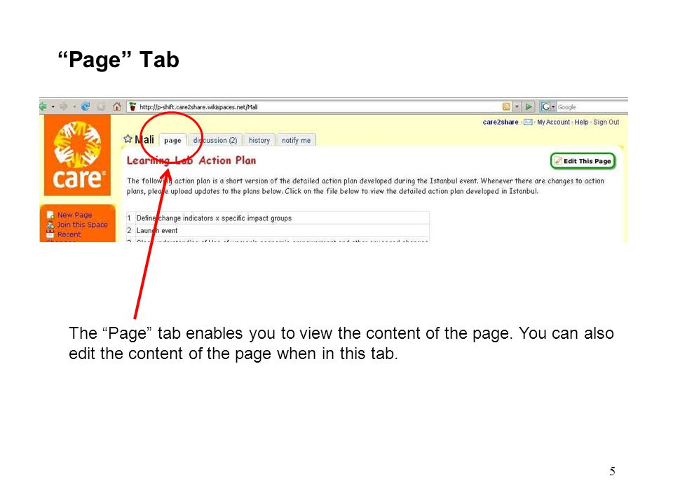 """5 """"Page"""" Tab The """"Page"""" tab enables you to view the content of the page. You can also edit the content of the page when in this tab."""