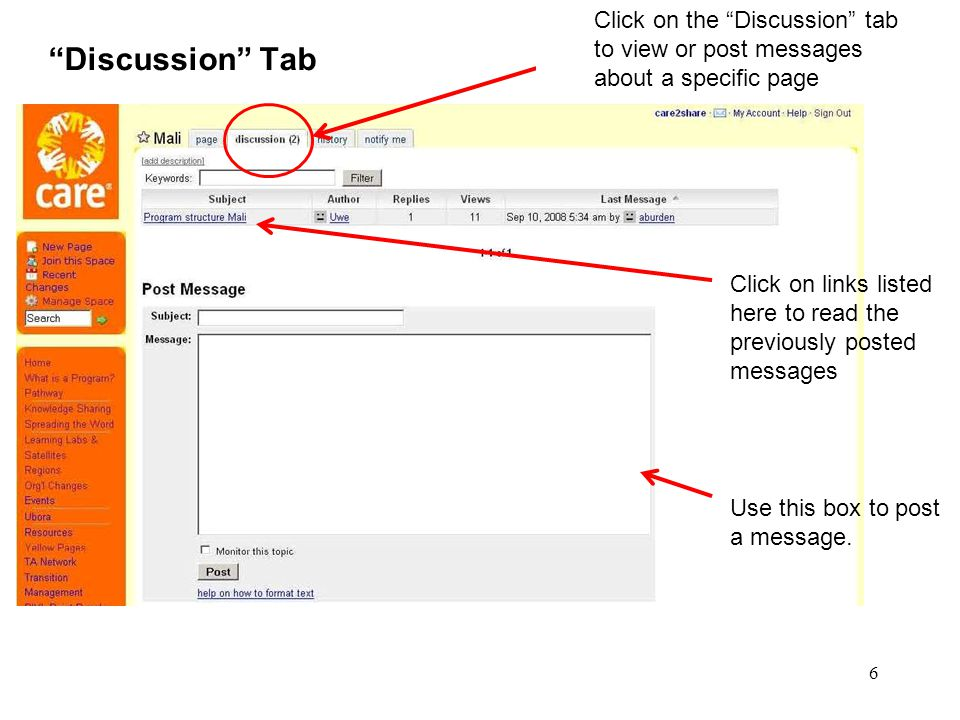 """6 """"Discussion"""" Tab Click on the """"Discussion"""" tab to view or post messages about a specific page Use this box to post a message. Click on links listed"""