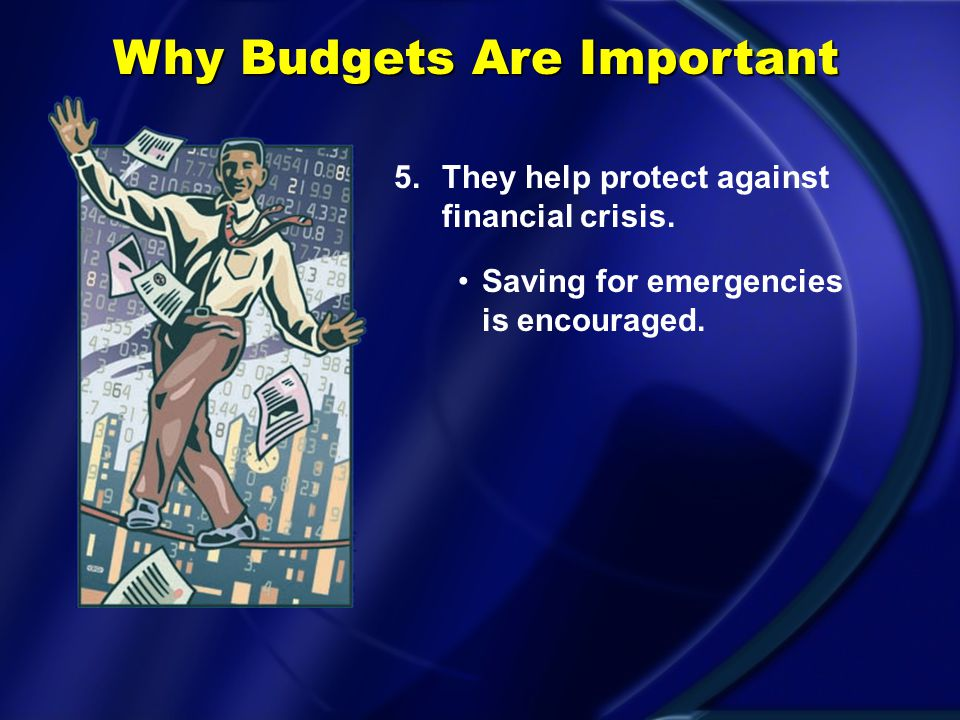 Why Budgets Are Important 4.They help evaluate long- and short-term performance.