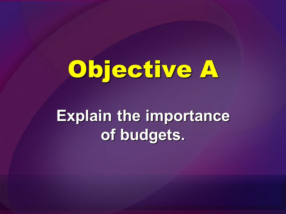 Objectives Explain the importance of budgets. Describe the characteristics of an effective budget.