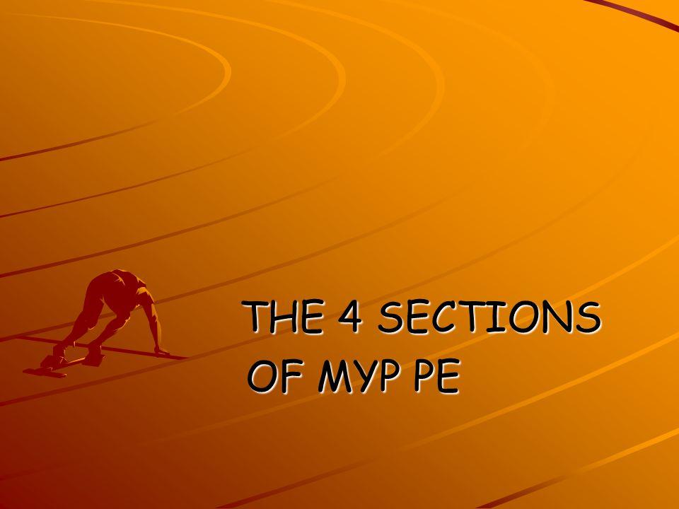 THE 4 SECTIONS THE 4 SECTIONS OF MYP PE OF MYP PE