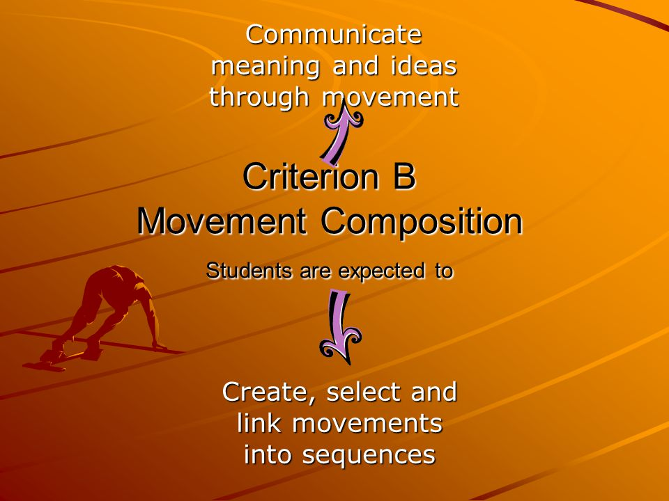 Criterion B Movement Composition Students are expected to Create, select and link movements into sequences Communicate meaning and ideas through movement