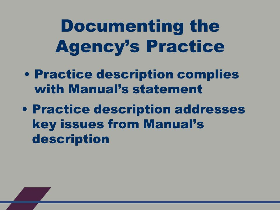 Documenting the Agency's Practice Practice description addresses key issues from Manual's description Practice description complies with Manual's statement