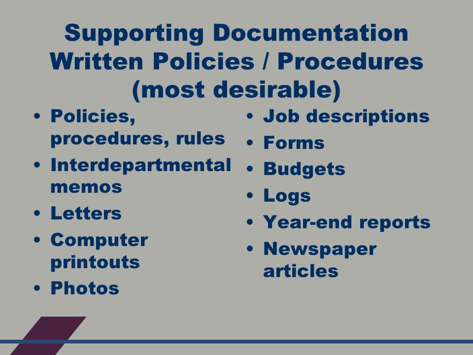 Supporting Documentation Written Policies / Procedures (most desirable) Policies, procedures, rules Interdepartmental memos Letters Computer printouts Photos Job descriptions Forms Budgets Logs Year-end reports Newspaper articles
