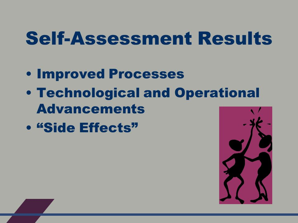 Self-Assessment Results Improved Processes Technological and Operational Advancements Side Effects