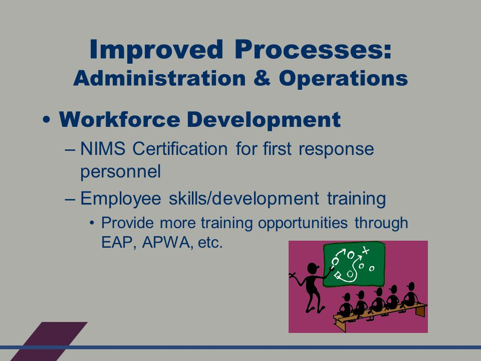 Improved Processes: Administration & Operations Workforce Development –NIMS Certification for first response personnel –Employee skills/development training Provide more training opportunities through EAP, APWA, etc.