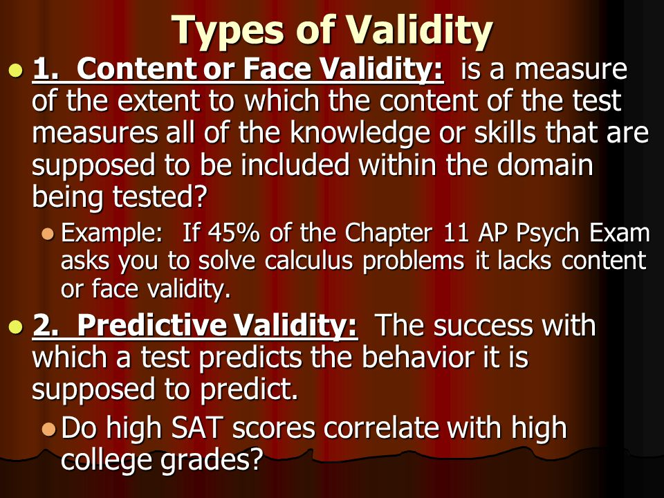 Types of Validity 1.
