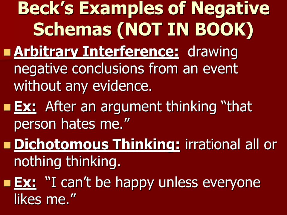 Aaron Beck's Cognitive Triad Theory of Depression Beck developed a cognitive triad which looked at what person thinks about: Beck developed a cognitive triad which looked at what person thinks about: –1.
