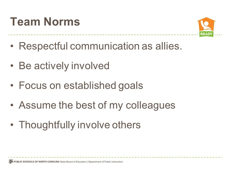 Team Norms Respectful communication as allies.
