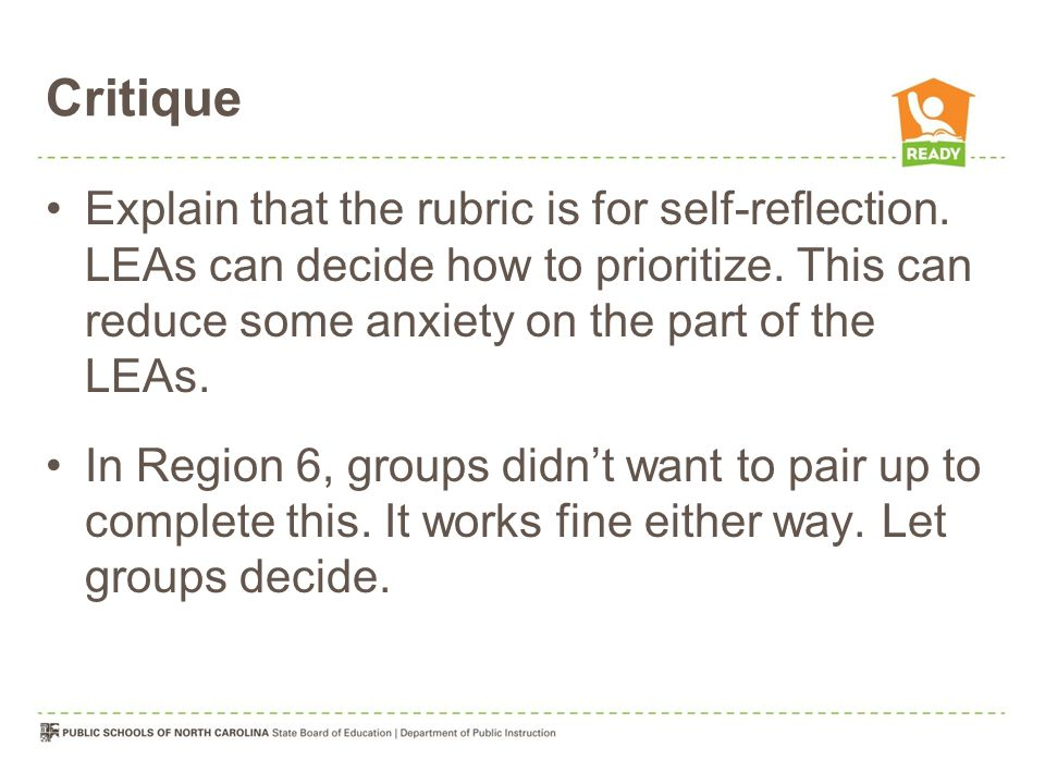 Critique Explain that the rubric is for self-reflection.