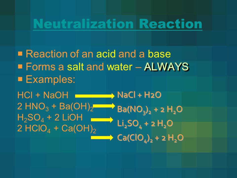 Neutralization Reaction NaCl + H2O Ba(NO 3 ) 2 + 2 H 2 O Li 2 SO 4 + 2 H 2 O Ca(ClO 4 ) 2 + 2 H 2 O
