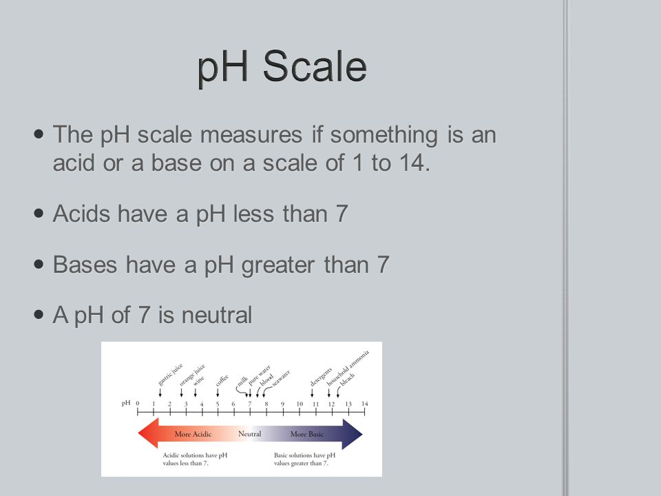 The pH scale measures if something is an acid or a base on a scale of 1 to 14. The pH scale measures if something is an acid or a base on a scale of 1