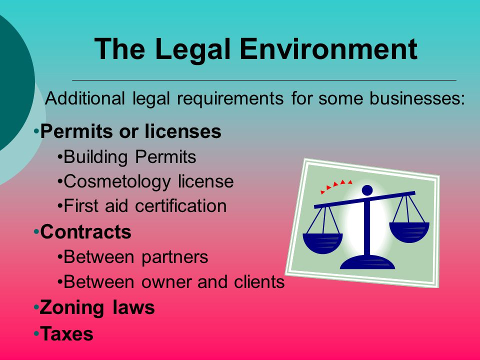 The Legal Environment Permits or licenses Building Permits Cosmetology license First aid certification Contracts Between partners Between owner and clients Zoning laws Taxes Additional legal requirements for some businesses: