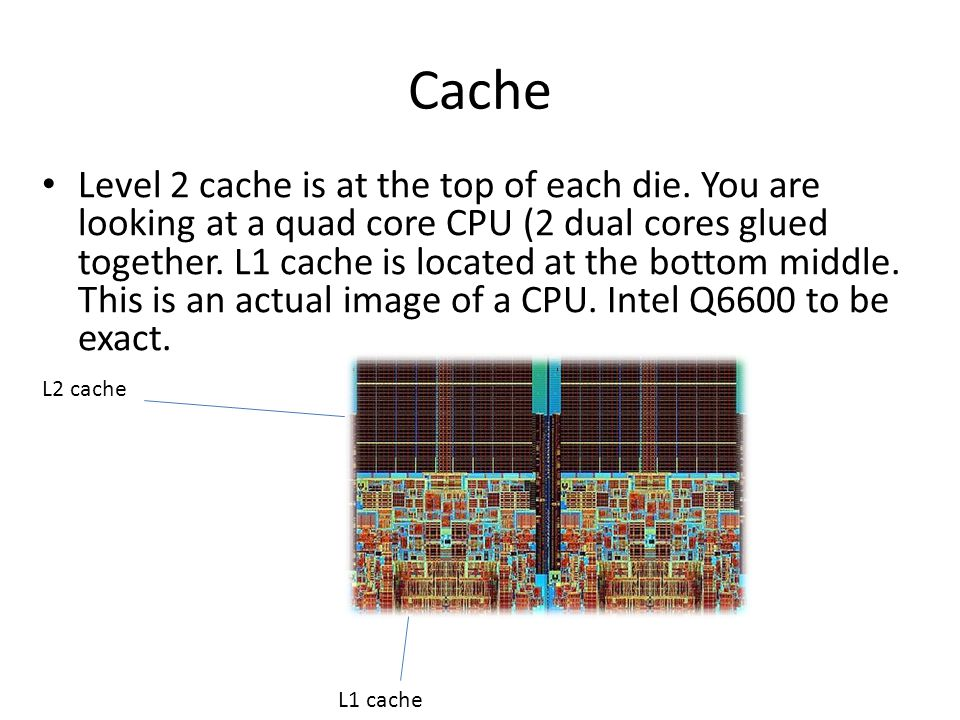 Cache Level 2 cache is at the top of each die. You are looking at a quad core CPU (2 dual cores glued together. L1 cache is located at the bottom midd