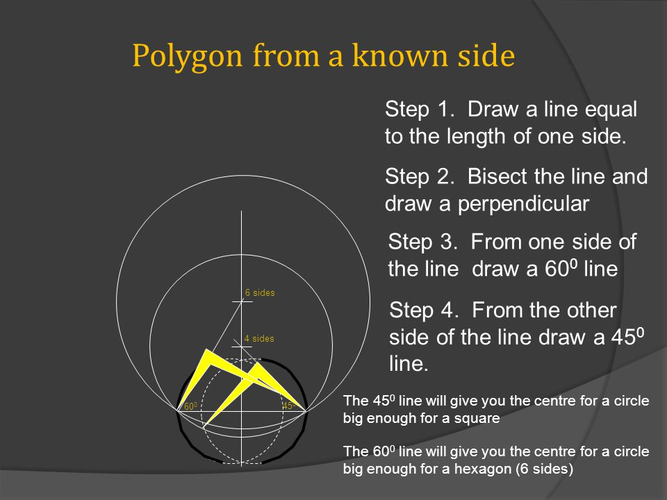 Polygon from a known side 60 0 45 0 4 sides 6 sides Step 1.