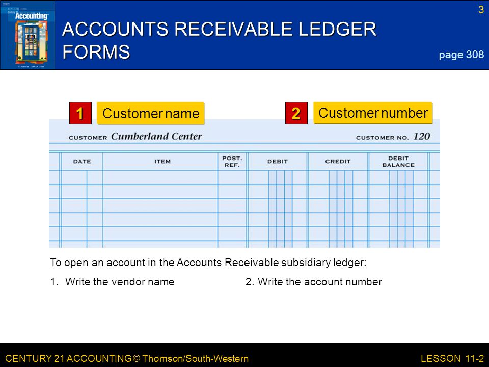 CENTURY 21 ACCOUNTING © Thomson/South-Western 3 LESSON 11-2 ACCOUNTS RECEIVABLE LEDGER FORMS page 308 1 Customer name2 Customer number To open an acco