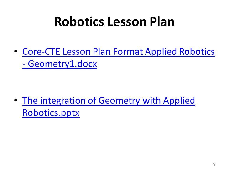 Robotics Lesson Plan Core-CTE Lesson Plan Format Applied Robotics - Geometry1.docx Core-CTE Lesson Plan Format Applied Robotics - Geometry1.docx The integration of Geometry with Applied Robotics.pptx The integration of Geometry with Applied Robotics.pptx 9
