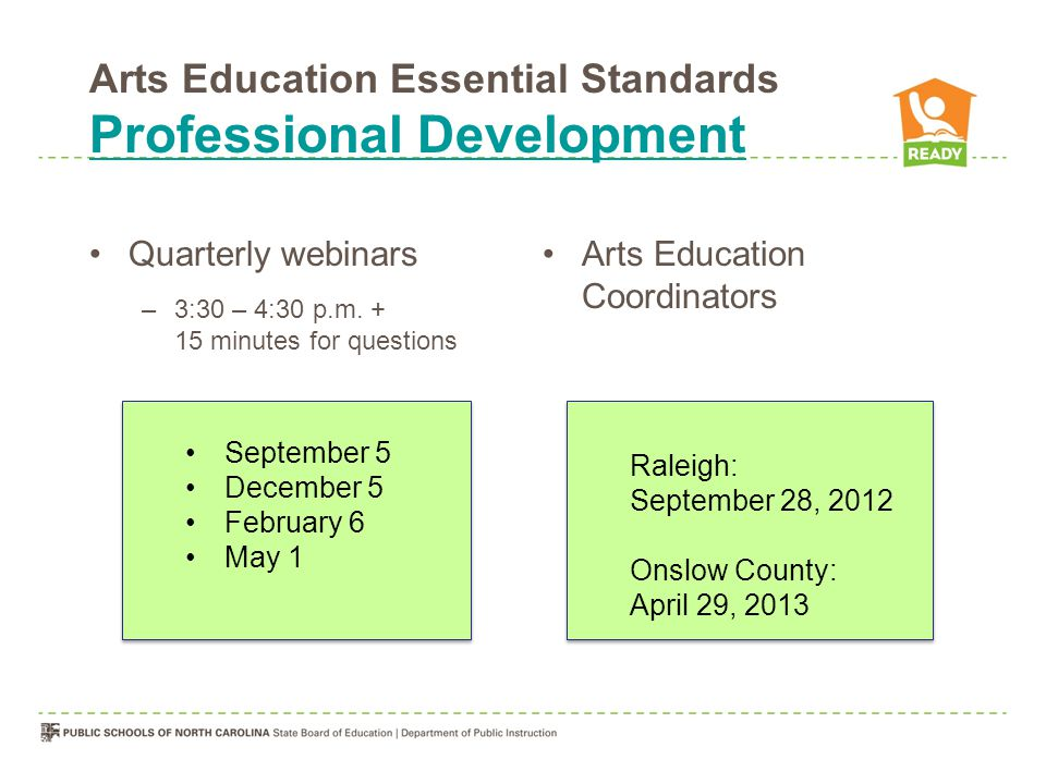Arts Education Essential Standards Professional Development Professional Development Quarterly webinars –3:30 – 4:30 p.m. + 15 minutes for questions A