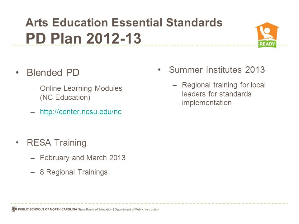 Blended PD –Online Learning Modules (NC Education) –http://center.ncsu.edu/nchttp://center.ncsu.edu/nc RESA Training –February and March 2013 –8 Regional Trainings Summer Institutes 2013 –Regional training for local leaders for standards implementation Arts Education Essential Standards PD Plan 2012-13