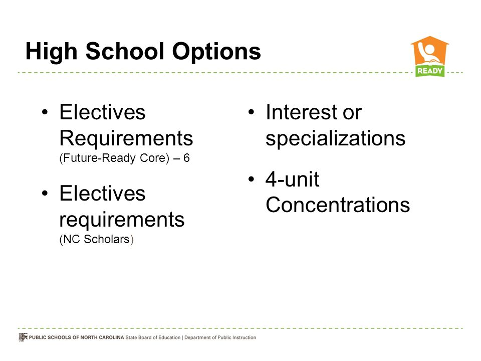 High School Options Electives Requirements (Future-Ready Core) – 6 Electives requirements (NC Scholars) Interest or specializations 4-unit Concentrati