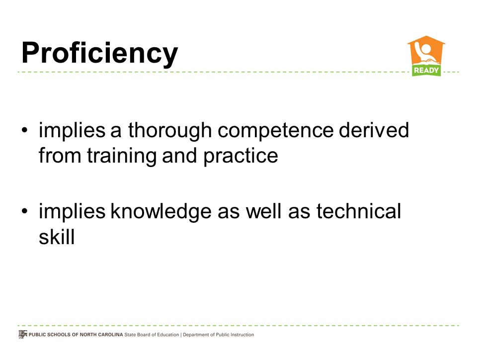 Proficiency implies a thorough competence derived from training and practice implies knowledge as well as technical skill