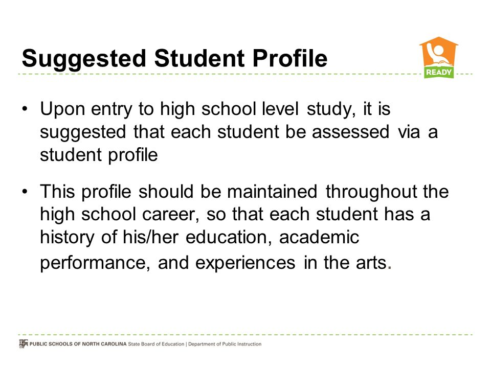 Suggested Student Profile Upon entry to high school level study, it is suggested that each student be assessed via a student profile This profile shou