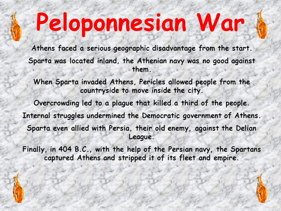 Greek against Greek Many Greeks resented the Athenian domination. The Greek world split into rival camps. To counter the Delian League, Sparta and oth