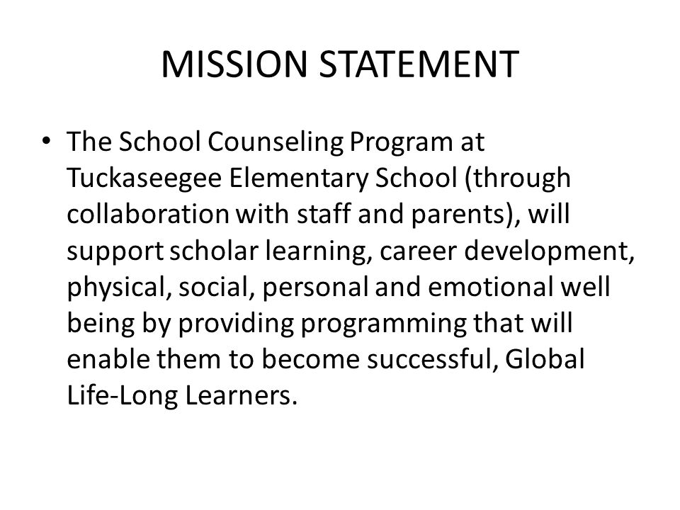 MISSION STATEMENT The School Counseling Program at Tuckaseegee Elementary School (through collaboration with staff and parents), will support scholar learning, career development, physical, social, personal and emotional well being by providing programming that will enable them to become successful, Global Life-Long Learners.