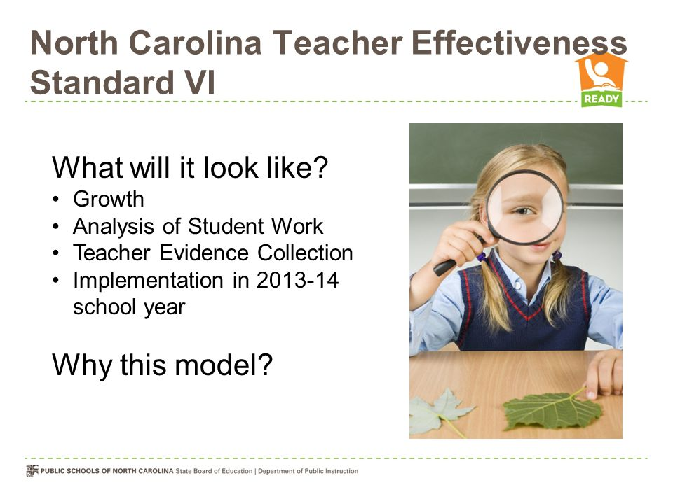 North Carolina Teacher Effectiveness Standard VI What will it look like? Growth Analysis of Student Work Teacher Evidence Collection Implementation in