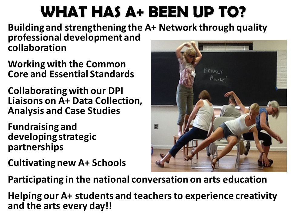 Building and strengthening the A+ Network through quality professional development and collaboration Working with the Common Core and Essential Standards Collaborating with our DPI Liaisons on A+ Data Collection, Analysis and Case Studies Fundraising and developing strategic partnerships Cultivating new A+ Schools Participating in the national conversation on arts education Helping our A+ students and teachers to experience creativity and the arts every day!.