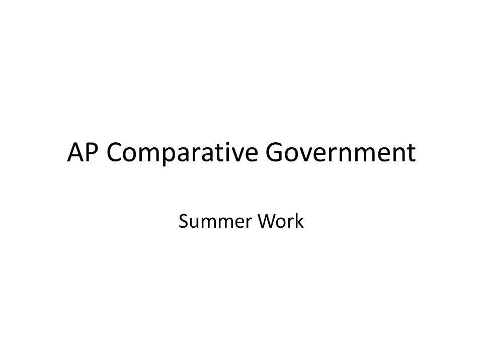 AP Comparative Government Summer Work