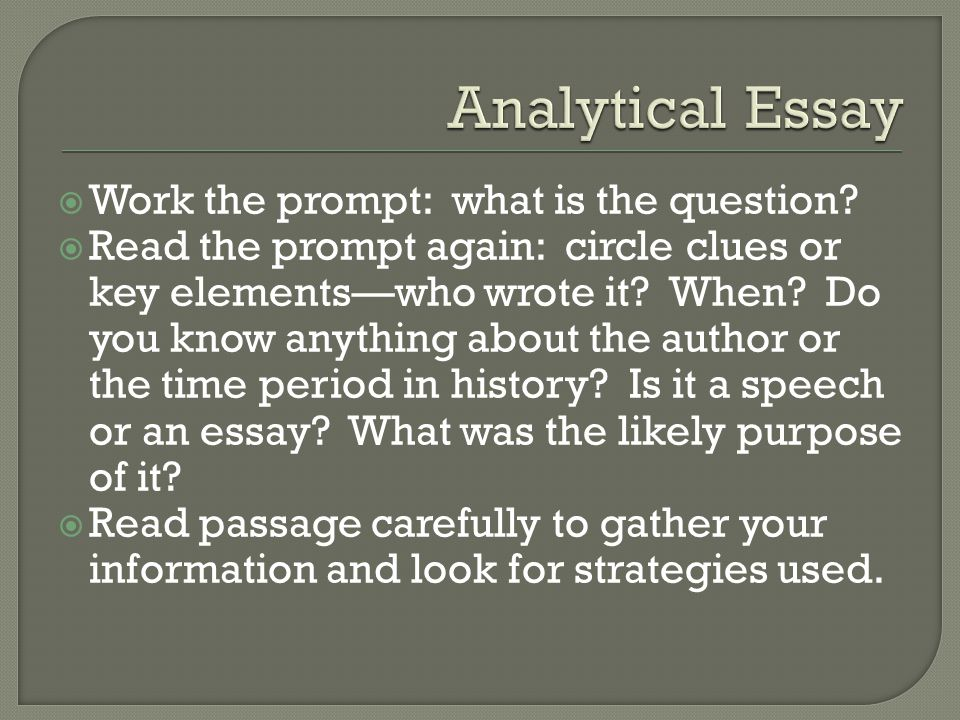  Work the prompt: what is the question.