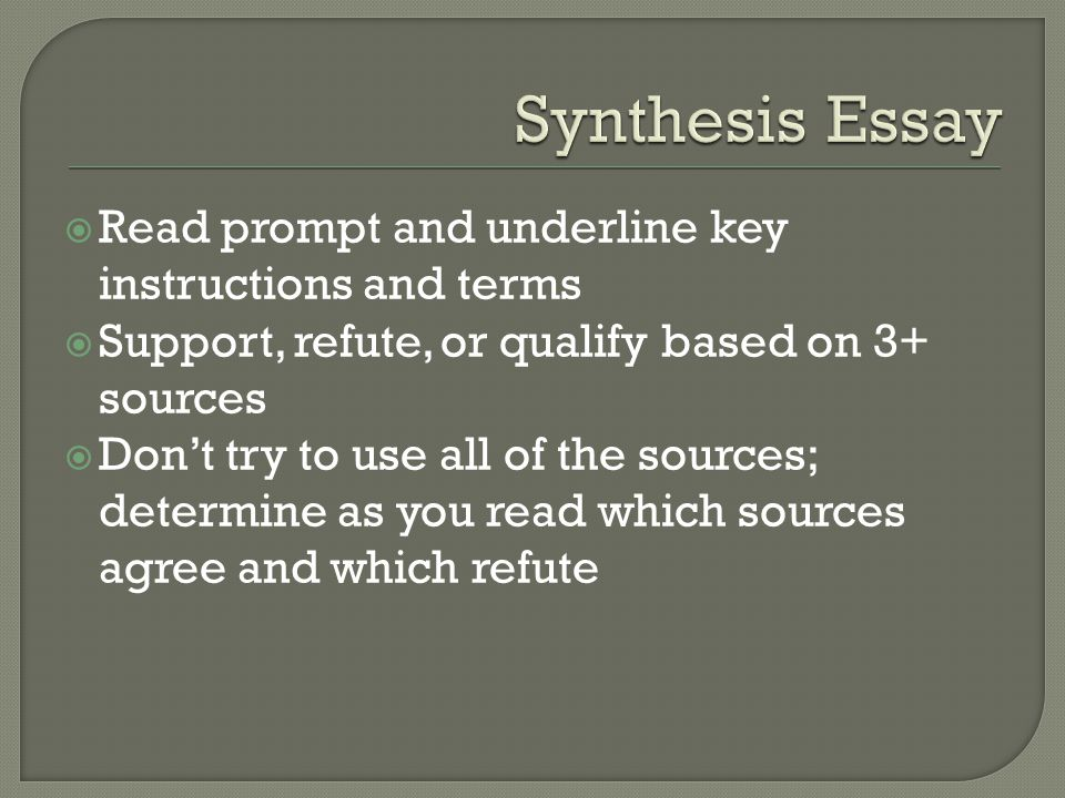 synthesis essay prompt format General argument essay review packet : the only real difference is that the synthesis essay provides much of the more on prompts and the exam format:.