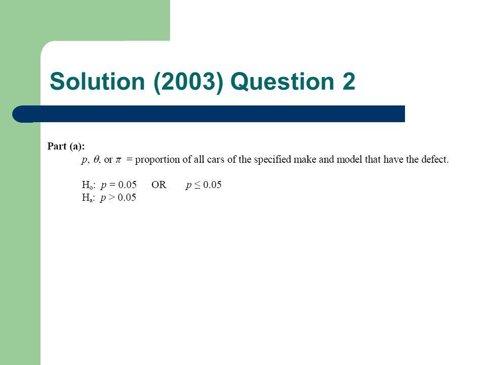 Solution (2003) Question 2