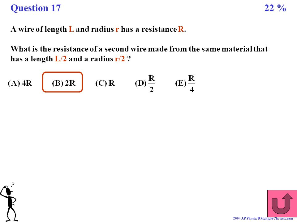 A wire of length L and radius r has a resistance R. What is the resistance of a second wire made from the same material that has a length L/2 and a ra