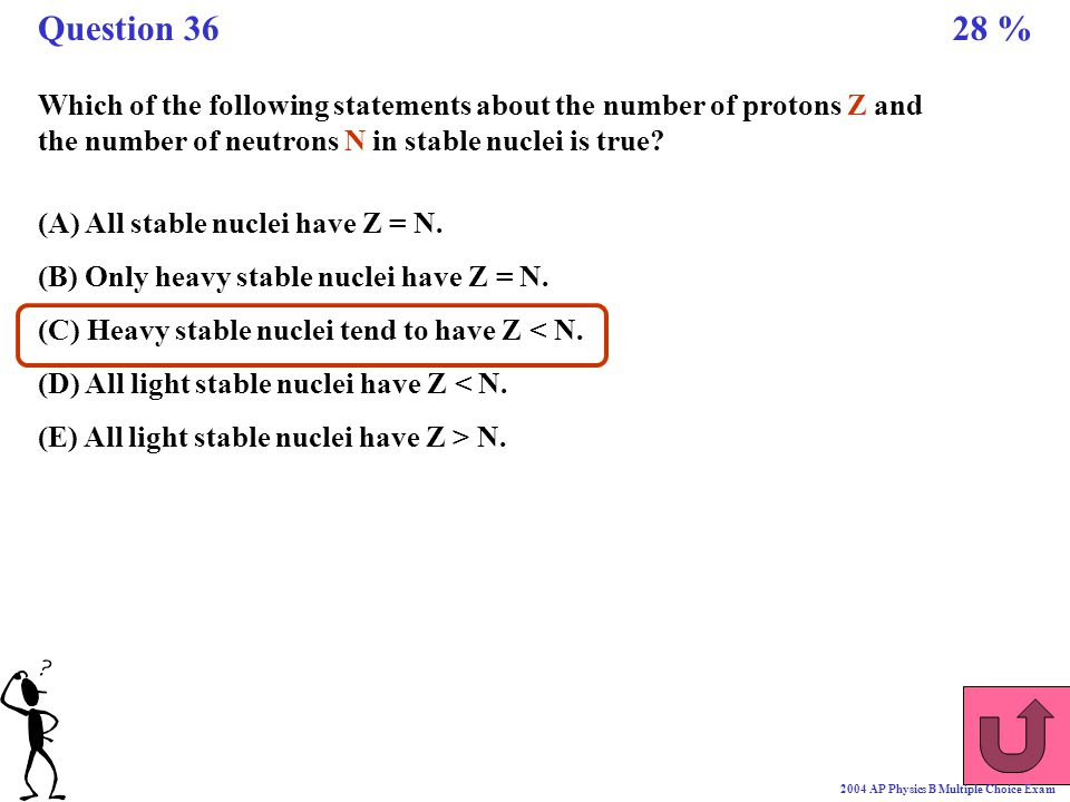 Which of the following statements about the number of protons Z and the number of neutrons N in stable nuclei is true? (A) All stable nuclei have Z =