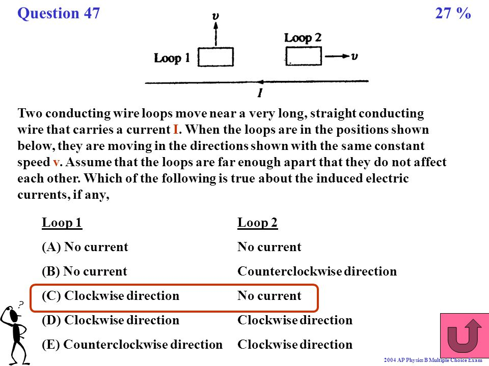 Two conducting wire loops move near a very long, straight conducting wire that carries a current I. When the loops are in the positions shown below, t
