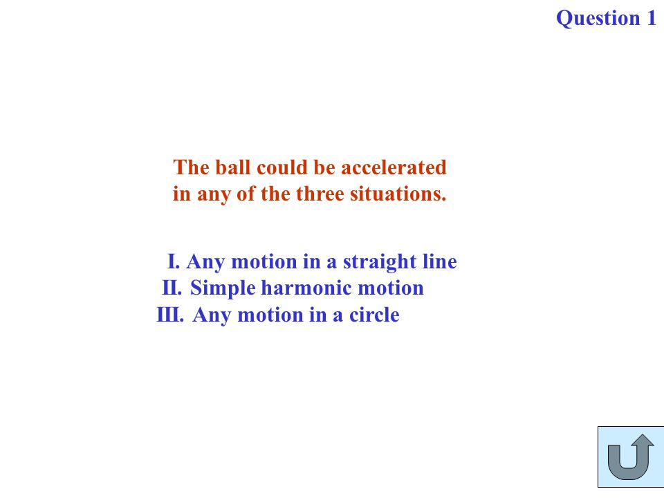 The ball could be accelerated in any of the three situations. I. Any motion in a straight line II. Simple harmonic motion III. Any motion in a circle