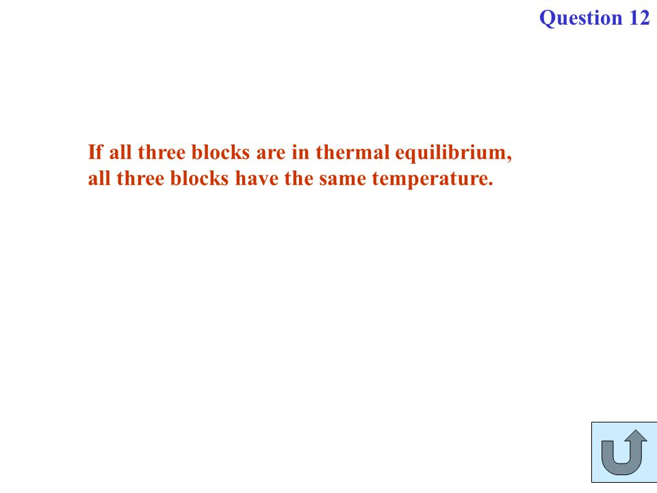 If all three blocks are in thermal equilibrium, all three blocks have the same temperature. Question 12