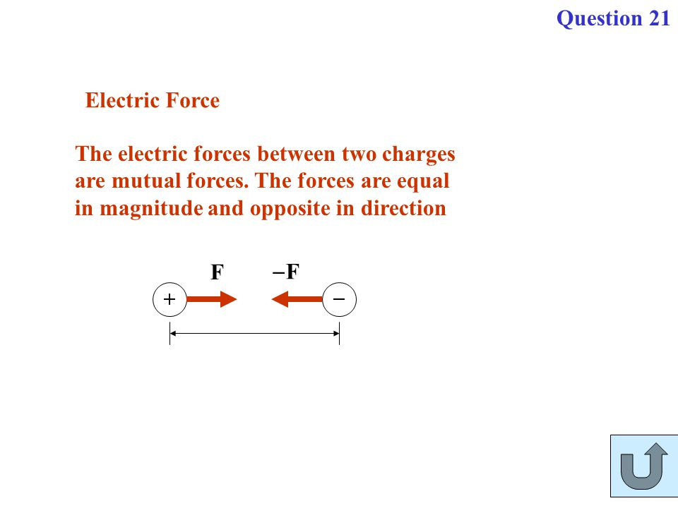 Electric Force The electric forces between two charges are mutual forces. The forces are equal in magnitude and opposite in direction F FF Question