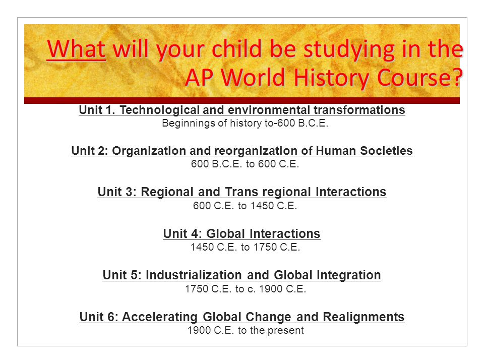 What will your child be studying in the AP World History Course.