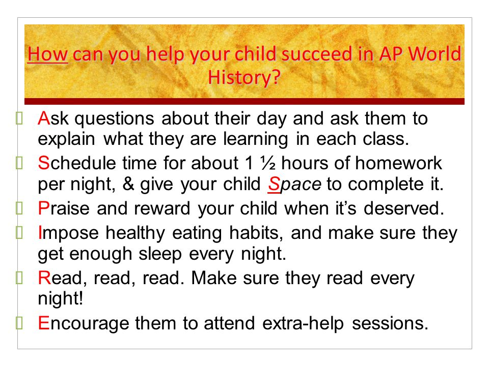 How can you help your child succeed in AP World History.