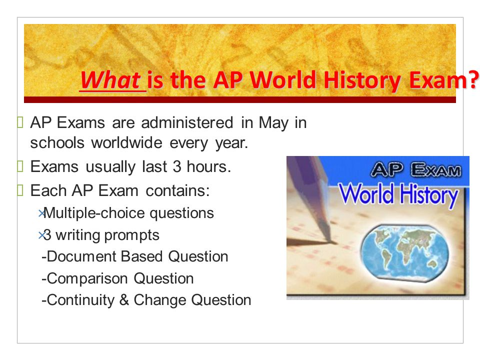 What is the AP World History Exam.