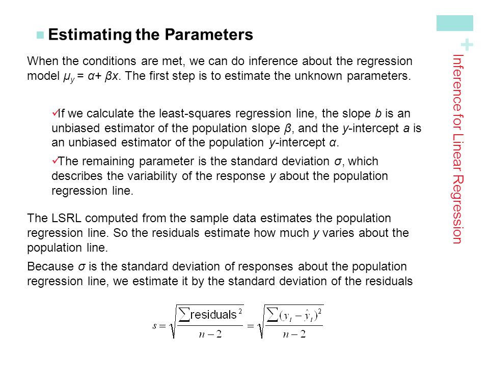 + Estimating the Parameters Inference for Linear Regression When the conditions are met, we can do inference about the regression model µ y = α+ βx. T