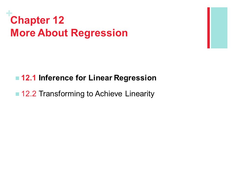 + Chapter 12 More About Regression 12.1Inference for Linear Regression 12.2Transforming to Achieve Linearity